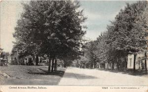 C85/ Bluffton Indiana In Postcard c1910 Central Avenue Homes Trees