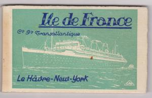 Ocean Liner Ile de France , 20 Postcard album, Le Havre - New York