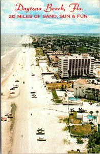 RARE - Daytona Beach Florida - FL- 20 MILES OF SAND AERIAL CHROME  postcard