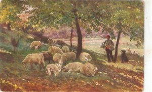 R. Lopez. Shepherd with his flock Fine painting, viontage Spanish PC