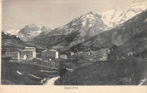 Saas-Fee Switzerland Buildings Mountains Scenic View Antique Postcard J77866
