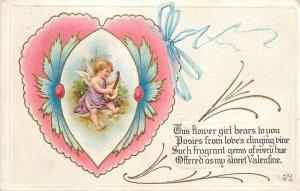 Valentine~Art Nouveau~Scalloped Pink Heart~Cupid Plays Lute~Gold~Emb~Nash~V-53