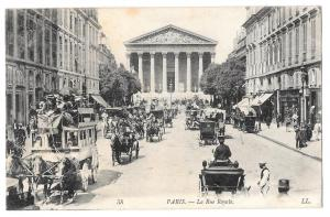 France Paris Rue Royale Horse Drawn Bus Carriages Postcard
