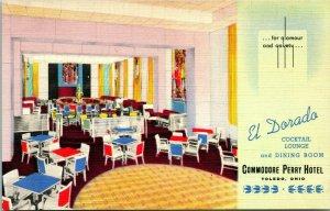 Vtg Linen Postcard Toledo Ohio Commodore Perry Hotel El Dorado Cocktail Lounge
