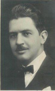 Social History Postcard 1932 fancy bow tie elegant gentleman picture