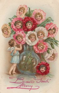VALENTINES DAY; PU-1904; Vase of flowers with children's Faces, Cupid