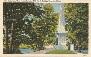 Postcard, Revolutionary War Memorial and Old North Bridge Concord Massachusetts