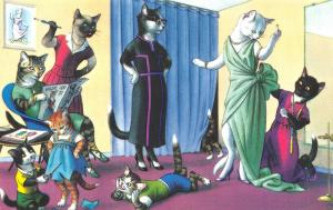 Fantasy Dressed Mainzer Cats~At the Dressmaker~Scissors~Max Kunzli~#4876 Turkey