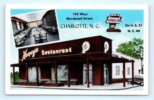 Postcard NC Charlotte Honey's Drive In Restaurant c1950s R71
