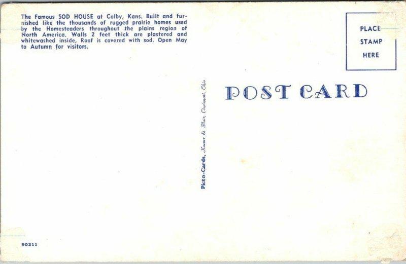 Postcard Sod House Colby Kansas Prairie Homestead Cowboy Cowgirl Hats Wagon 1935
