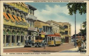 Panama City Street Scene Trolley Linen Postcard
