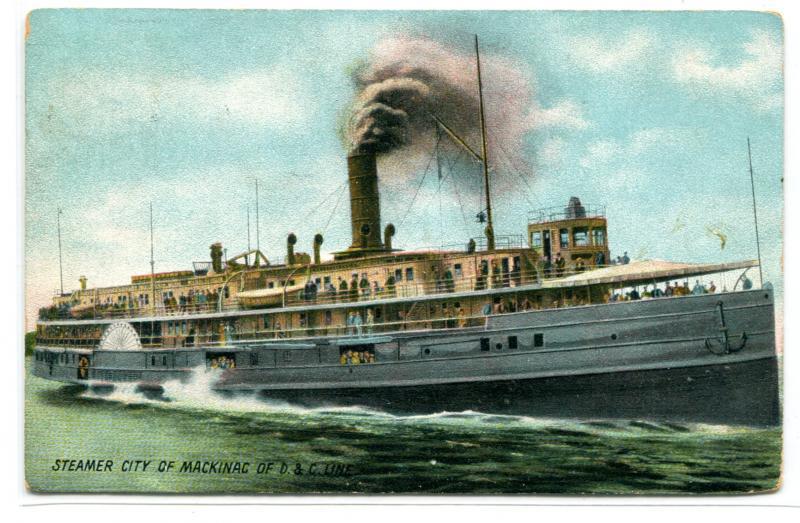 Steamer City of Mackinac D&C Line Great Lakes 1908 postcard