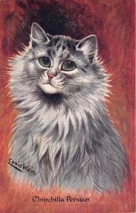 Louis Wain Chinchilla Persian Signed Dressed Cat Postcard