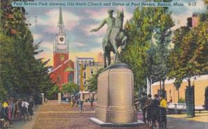 Massachusetts Boston Paul Revere Park Showing Old North Church and Paul Rever...