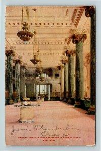 Banking Room, Corn Exchange National Bank, Chicago IL Illinois Postcard