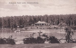 Boat On Eckstein Park Lake Johannesburg South Africa Old Postcard