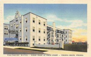 F86/ Virginia Beach Virginia Postcard 1950 Linen Traymore Hotel Ocean