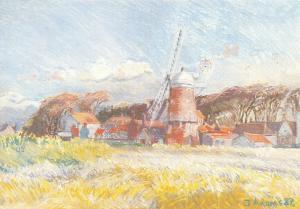 Art Postcard, Cley Windmill Norfolk (1987) by Julie Adams 36R