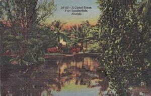 Florida Fort Lauderdale A Canal Scene 1953