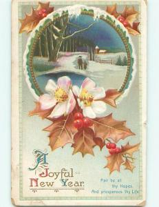 Divided-Back new year WHITE & PINK FLOWERS WITH WINTER SCENE r3908