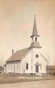Lincoln Maine~Catholic Church~Steps Up Front & Back~1912 Real Photo~RPPC