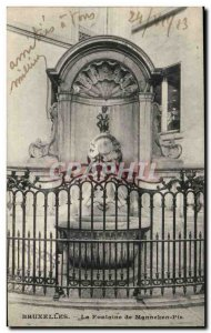 Postcard Ancienne Belgique Brussels fountain The Manneken pis