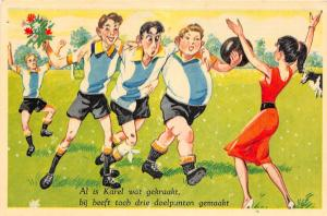 C99/ Sports Postcard Soccer Football Futball Comic 60s Netherlands? Woman Sexy13