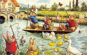 Racey Helps Fantasy~Fun on the River Rabbit Family in Pole Boat~Ducks~Medici