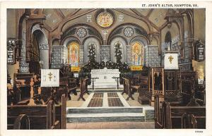 C78/ Hampton Virginia Va Postcard Linen St John's Church Altar Interior