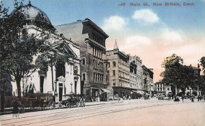 Main Street, New Britain, Connecticut, Early Postcard, Unused
