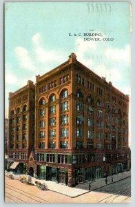 Denver Colorado~E&C Building~Hartford Insurance~Horse Buggies~1909 Postcard