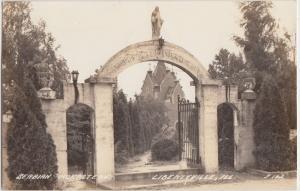1945 LIBERTYVILLE Illinois Ill RPPC Postcard SERBIAN MONESTERY Gate Entrance