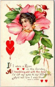 VALENTINE'S DAY Romance Greetings Postcard Woman's Face / Flower STECHER 93E