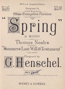 Spring A Song Thomas Nash's Comedy Summer's Last Will & Testament Olde Sheet ...