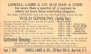 Wild Ginseng Advertising 1933 wear left edge