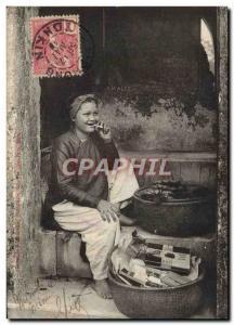 Postcard Old Tobacco Foklore Indochina Small tobacco market has the & # 39ent...