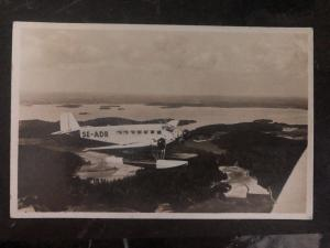 Mint Sweden Real Picture Postcard RPPC Swedish Airlines SE-ADR Mail Airplane