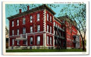 Mid-1900s Illinois School for the Blind, Jacksonville, IL Postcard