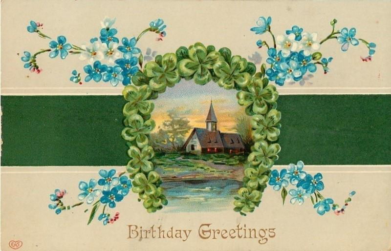 Shamrock Arch~Country Church~Blue White Forget-Me-Nots~Green Tan~EAS Germany~GEL