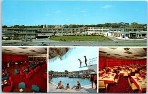 Hyannis Cape Cod MA Postcard HYANNIS HARBORVIEW MOTEL Girls at Pool c1960s