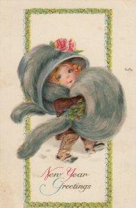 NEW YEAR, Girl w/ Fur Hat & Hand Warmer , 1914  Gottschalk Dreyfuss & Davis #2