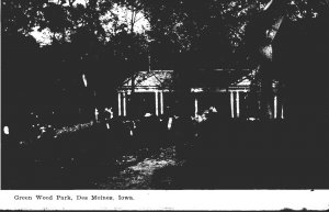 Iowa Des Moines View In Green Wood Park 1909
