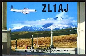 Aviation Airplane Auckland New Zealand QSL Postcard TEAL Plane in Disrtance