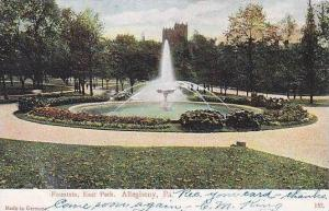 Pennsylvania Allegheny Fountain At East Park 1907