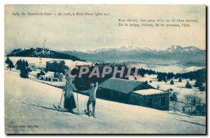 Old postcard Revard In winter the Mont Blanc skiing Cross