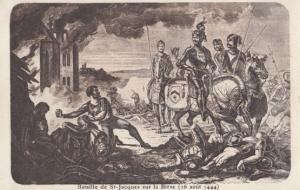 Bataille De St Saint Jacques 144 Antique Swiss Medieval Battle Military Postcard