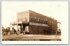 Lenzburg Illinois~Whole Family @ Entrance to Dickson General Store~RPPC c1910