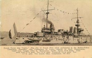 1911 French Navy Military ship Justice Postcard 5605