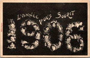 1906 L' ANNEE VOUS SOURIT -  Bonne Annee Happy New Year FACES France postcard