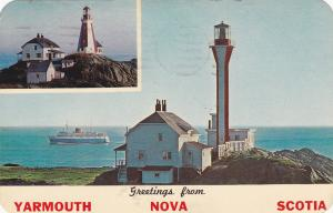 YARMOUTH , Nova Scotia , Canada , 1963; Cape Forchu Lighthouse, Old and New
